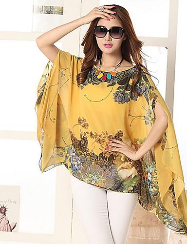 여성의 프린트 라운드 넥 민소매 블라우스,보호 캐쥬얼/데일리 블루 / 화이트 / 블랙 / 오렌지 / 옐로 폴리에스테르 여름 중간