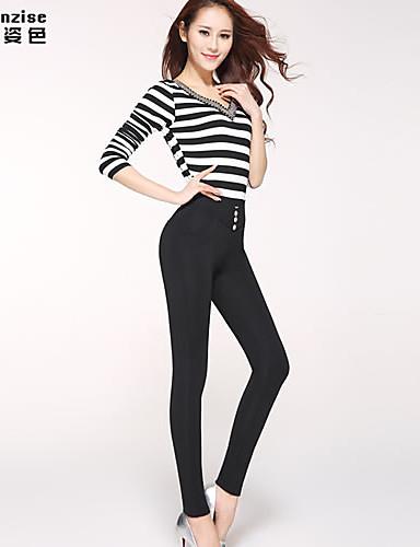abordables Pantalons Femme-Femme Taille Normale Elastique Skinny Jeans Pantalon, Polyester Spandex Printemps