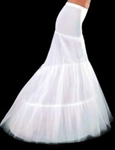 abordables Dessous de Robe de Mariage-Déshabillés Robe sirène et robe évasée Chapelle Ras du Sol 3 Polyester Blanc
