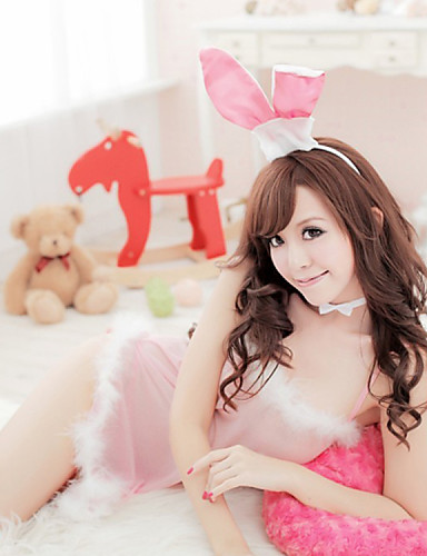 Shuxuer ® Women Polyester Ultra Sexy Four Piece Suit Nightwear Inculde Braces Skirt T-back Rabbit Ears And The Neck Ring
