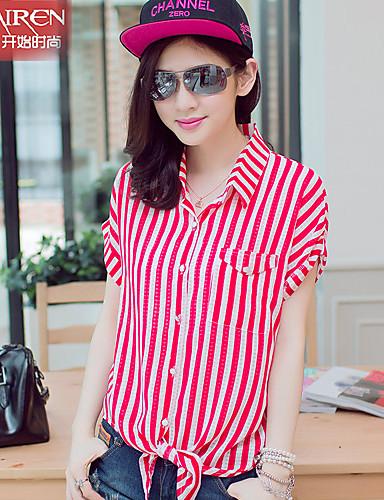 여성용 줄무늬 플러스 사이즈 - 셔츠 면 폴리에스테르