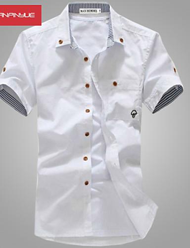 abordables Camisas de Hombre-Hombre Deportes / Trabajo Algodón Camisa Un Color Blanco / Manga Larga