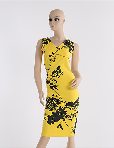 Жен. Богемный Свободный силуэт Оболочка Платье - Цветочный принт До колена