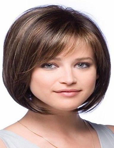 povoljno Perike s ljudskom kosom-Ljudska kosa Perika Bob frizura Slobodni dio Sa šiškama stil Brazilska kosa Ravan kroj Perika 130% Gustoća kose s dječjom kosom Izbijeljeni čvorovi Žene Kratko Srednja dužina Dug Perike s ljudskom