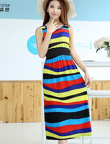 Women's Daily Shift Dress,Striped Round Neck Midi Sleeveless Polyester Spandex Summer Stretchy Thin