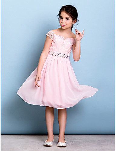 A-Line Off Shoulder Knee Length Chiffon Lace Junior Bridesmaid Dress with Bow(s) Crystal Detailing Sash / Ribbon by LAN TING BRIDE®