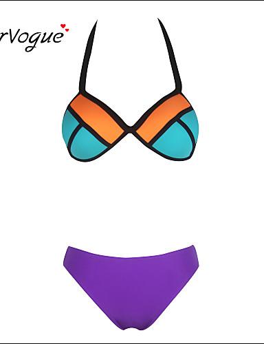 halpa Naisten yläosat-Naisten Kukka-aihe Geometrinen Yksivärinen Niskalenkki Purppura Bikini Uima-asut - Color Block Puuvilla Purppura / Push-up / Pehmustetut rintaliivit