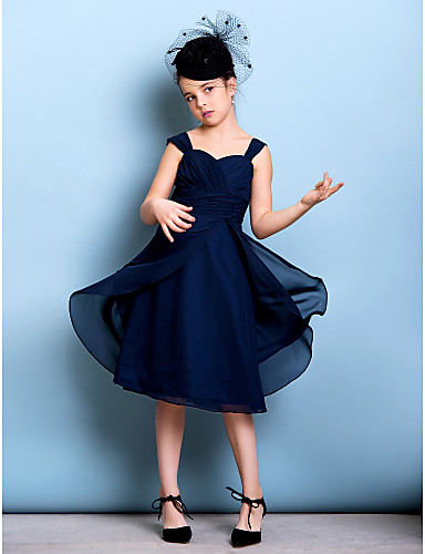 A-Line Straps Knee Length Chiffon Junior Bridesmaid Dress with Sash / Ribbon / Criss Cross / Ruched by LAN TING BRIDE® / Natural