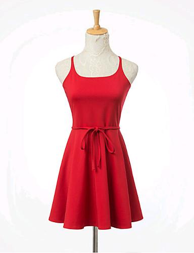 Bayanlar Pamuklu/Elastik Diz üstü Kolsuz Bayanlar Elbise