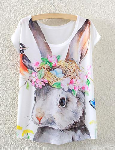 Tee-shirt Femme,Imprimé Décontracté / Quotidien simple Eté Manches Courtes Col Arrondi Blanc Fin