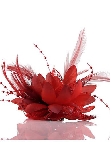 abordables Chapeau & coiffure-Mousseline de soie / Imitation de perle / Dentelle Fascinators / Fleurs / Coiffure avec Fleur 1pc Mariage / Occasion spéciale / Décontracté Casque