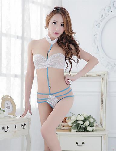 Для женщин Ультра-секси Комбинация Бюстгальтер без косточек Ночное белье Однотонный Кружева Белый