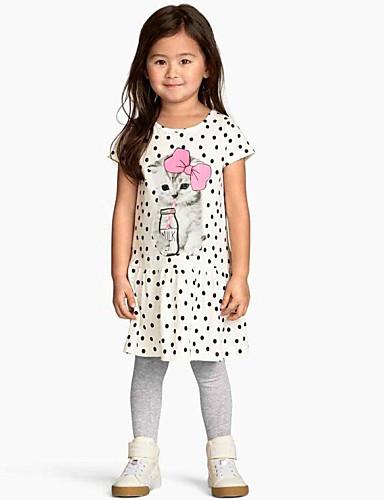 Girl's Cotton/Polyester Leisure Cute Cat Dot Short Sleeve Dress