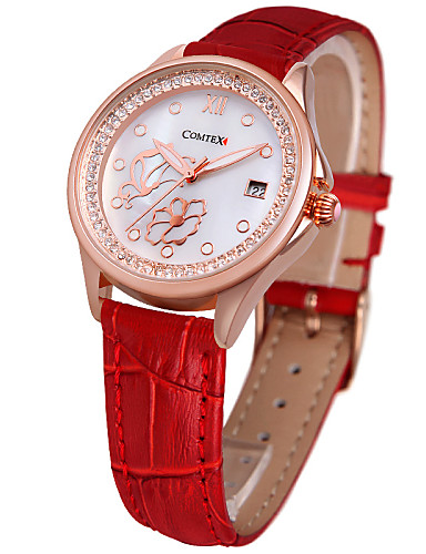 COMTEX fashion leather Diamond Ladies quartz watch