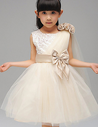 Ball Gown Knee Length Flower Girl Dress - Cotton Polyester Tulle Sequined Sleeveless Jewel Neck with Bow(s) by LAN TING Express