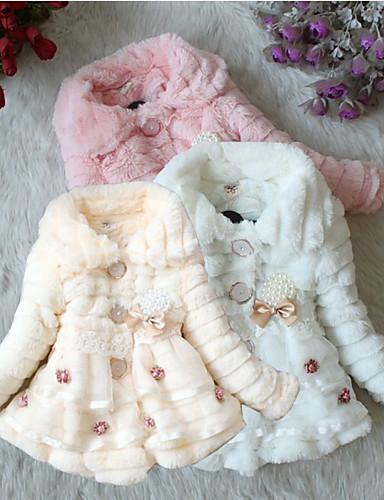 Девочки Платье Хлопок Спандекс Однотонный Осень Зима Длинный рукав Обычный