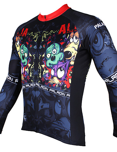 cheap Cycling Clothing-ILPALADINO Men's Long Sleeve Cycling Jersey - Black Cartoon Bike Jersey Top Breathable Quick Dry Ultraviolet Resistant Sports Winter Polyester 100% Polyester Terylene Mountain Bike MTB Road Bike