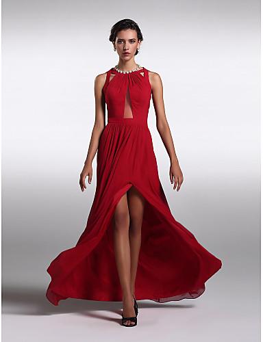 Tube / kolonne Besmykket Gulvlang Chiffon Skoleball / Formell kveld Kjole med Plissert Delt front av TS Couture®