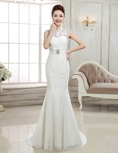 91a5d6bd4524 Mermaid / Trumpet High Neck Sweep / Brush Train Lace Made-To-Measure Wedding  Dresses with Beading / Appliques by LAN TING Express / Open Back