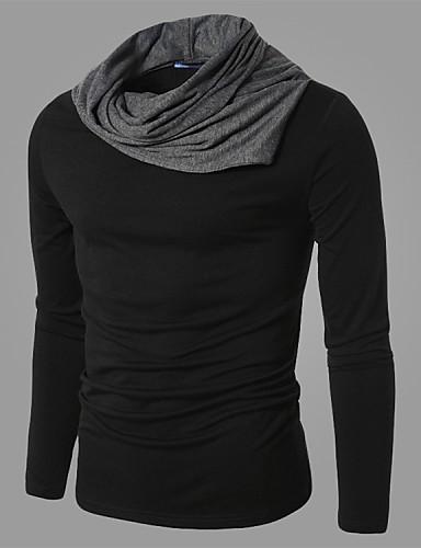 男性用 スポーツ Tシャツ タートルネック カラーブロック コットン