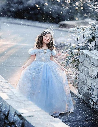 A-Line Tea Length Flower Girl Dress - Satin Tulle Short Sleeves Straps with Crystal Brooch