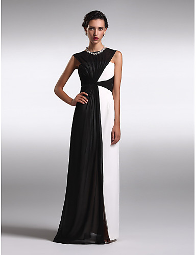 54c864c1ad Sheath   Column Boat Neck Floor Length Georgette Color Block Prom   Formal  Evening Dress with Ruched by TS Couture®