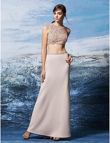 Sütun / İki Parça Taşlı Yaka Yere Kadar Payetli / Jarse Payet ile Balo / Resmi Akşam Elbise tarafından TS Couture®