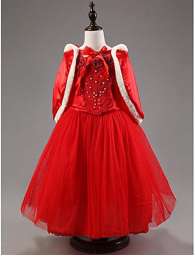 Γραμμή Α Μέχρι τον αστράγαλο Φόρεμα για Κοριτσάκι Λουλουδιών - Σατέν / Τούλι Κοντό Μανίκι Με Κόσμημα με