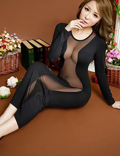 Ultra Seksi Yatak kıyafeti Solid Pamuk Karışımı Siyah Kadın