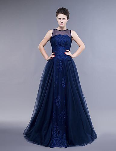 A-Şekilli Sütun Illüzyon boyun çizgisi Yere Kadar Dantelalar Tül Boncuklama ile Resmi Akşam Elbise tarafından TS Couture®