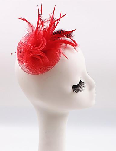 abordables Chapeau & coiffure-Plume / Polyester Fascinators avec 1 Mariage / Occasion spéciale / Décontracté Casque