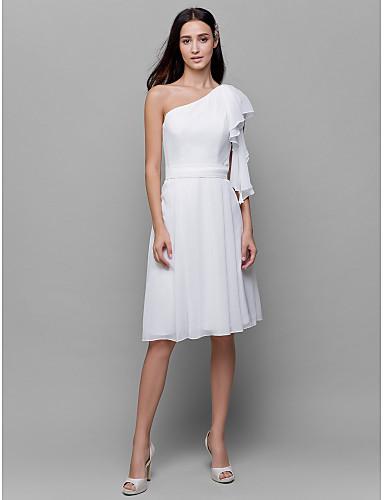A-Line One Shoulder Knee Length Chiffon Bridesmaid Dress with Sash / Ribbon Pleats by LAN TING BRIDE®