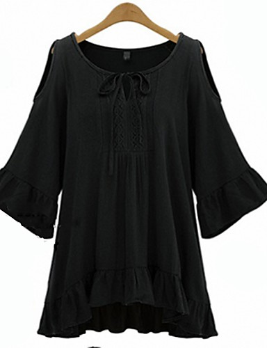 Robe Femme Vacances Grandes TaillesCouleur Pleine Col Arrondi Mini Manches ¾ Blanc Noir Coton Eté Micro-élastique Fin