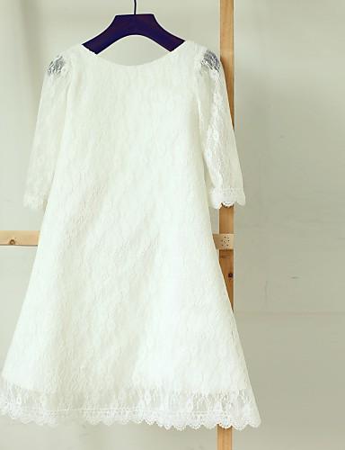 Ίσια Γραμμή Κάτω από το γόνατο Φόρεμα για Κοριτσάκι Λουλουδιών - Δαντέλα Μακρυμάνικο Bateau Neck με Δαντέλα με Thstylee