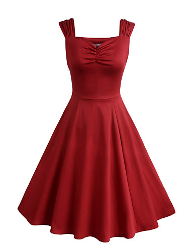 Women's Party Vintage A Line Skater Dress,Solid Sweetheart Knee-length Sleeveless Cotton Polyester Summer Mid Rise Micro-elastic Medium