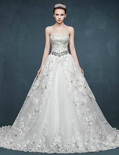 Báli ruha Menyasszonyi ruha Kápolna uszály Szív alakú Tüll val vel