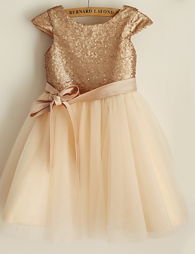 Princess Knee Length Flower Girl Dress - Satin Tulle Sequined Short Sleeves Scoop Neck with Bow(s) by LAN TING Express