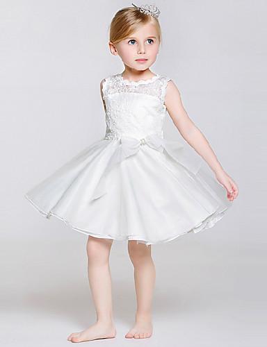 a 라인 무릎 길이 꽃 파는 소녀 드레스 - 리본이있는 폴리 에스테르 레이스 얇은 명주 얇은 주얼리 넥