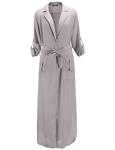 Γυναικεία Φόρεμα Σκίσιμο Λαιμόκοψη V/Βαθύ V Μακρύ Μακρυμάνικο Βαμβάκι/Spandex/Πολυεστέρας