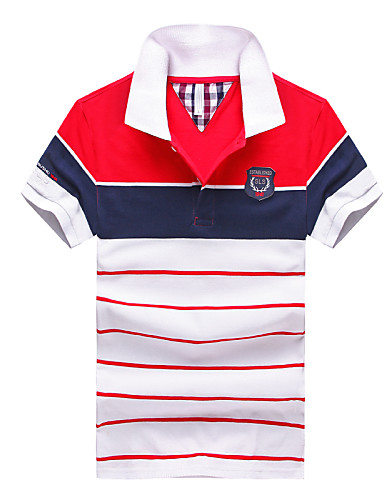 Men's Work Active Street chic Cotton Polo - Solid Colored Striped Formal Style Classic Retro Print Mixed Color Shirt Collar