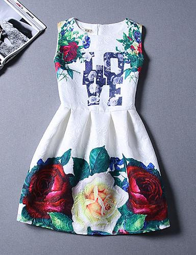 Naiset A-linja Mekko Vintage Rento/arki,Painettu Pyöreä kaula-aukko Polvipituinen Hihaton Puuvilla Polyesteri Kesä Korkea vyötärö