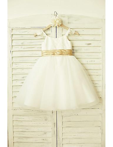 Γραμμή Α Μέχρι το γόνατο Φόρεμα για Κοριτσάκι Λουλουδιών - Δαντέλα Τούλι Αμάνικο Λουριά με Ζώνη / Κορδέλα με LAN TING BRIDE®