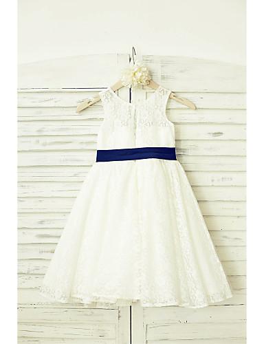 Γραμμή Α Μέχρι το γόνατο Φόρεμα για Κοριτσάκι Λουλουδιών - Δαντέλα Αμάνικο Σχήμα U με