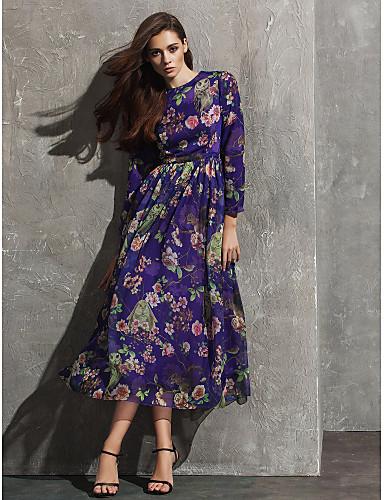Γραμμή Α Με Κόσμημα Κάτω από το γόνατο Σιφόν Επίσημο Βραδινό Φόρεμα με Σχέδιο / Στάμπα με TS Couture®