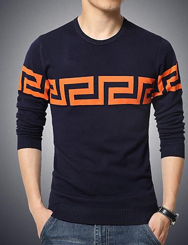Для мужчин На каждый день Большие размеры Обычный Пуловер С принтом Длинный рукав Хлопок Полиэстер