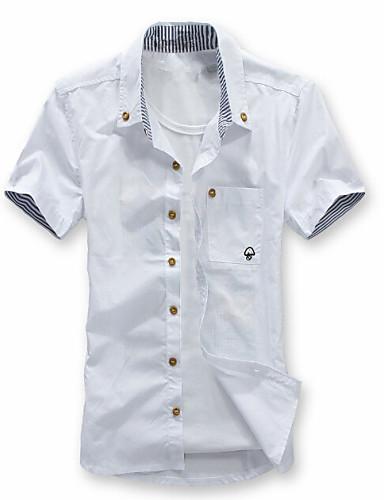 Men's Weekend Plus Size Slim Shirt - Solid Button Down Collar