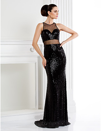 Mermaid / Trumpet Jewel Neck Sweep / Brush Train Sequined Formal Evening Black Tie Gala Dress with Pleats Sequins by TS Couture®