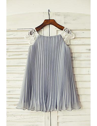 Оболочка / колонка длина колена платье девушки цветка - кружева с коротким рукавом совок с складками