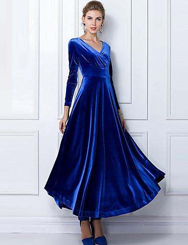 voordelige Maxi-jurken-Dames Grote maten Feest Katoen Fluweel Wijd uitlopend Jurk - Effen V-hals Maxi Blauw / Slank