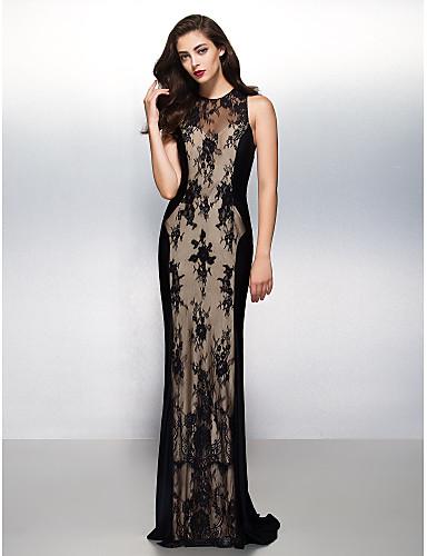 Ίσια Γραμμή Illusion Seckline Ουρά Δαντέλα Επίσημο Βραδινό Μαύρο γκαλά Φόρεμα με Δαντέλα με TS Couture®